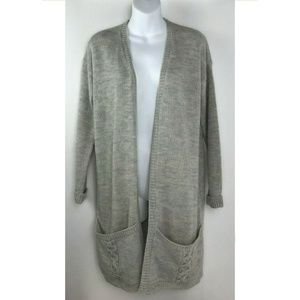 Elodie Gray Open Front Cable Knit Chunky Cardigan